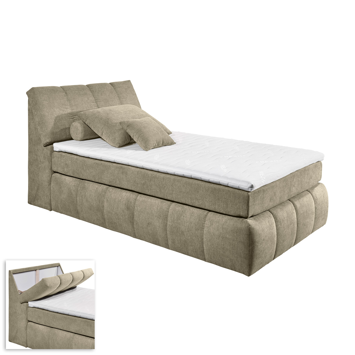 boxspringbett toledos bett schlafzimmerbett schlamm beige mit topper 120x200 ebay. Black Bedroom Furniture Sets. Home Design Ideas