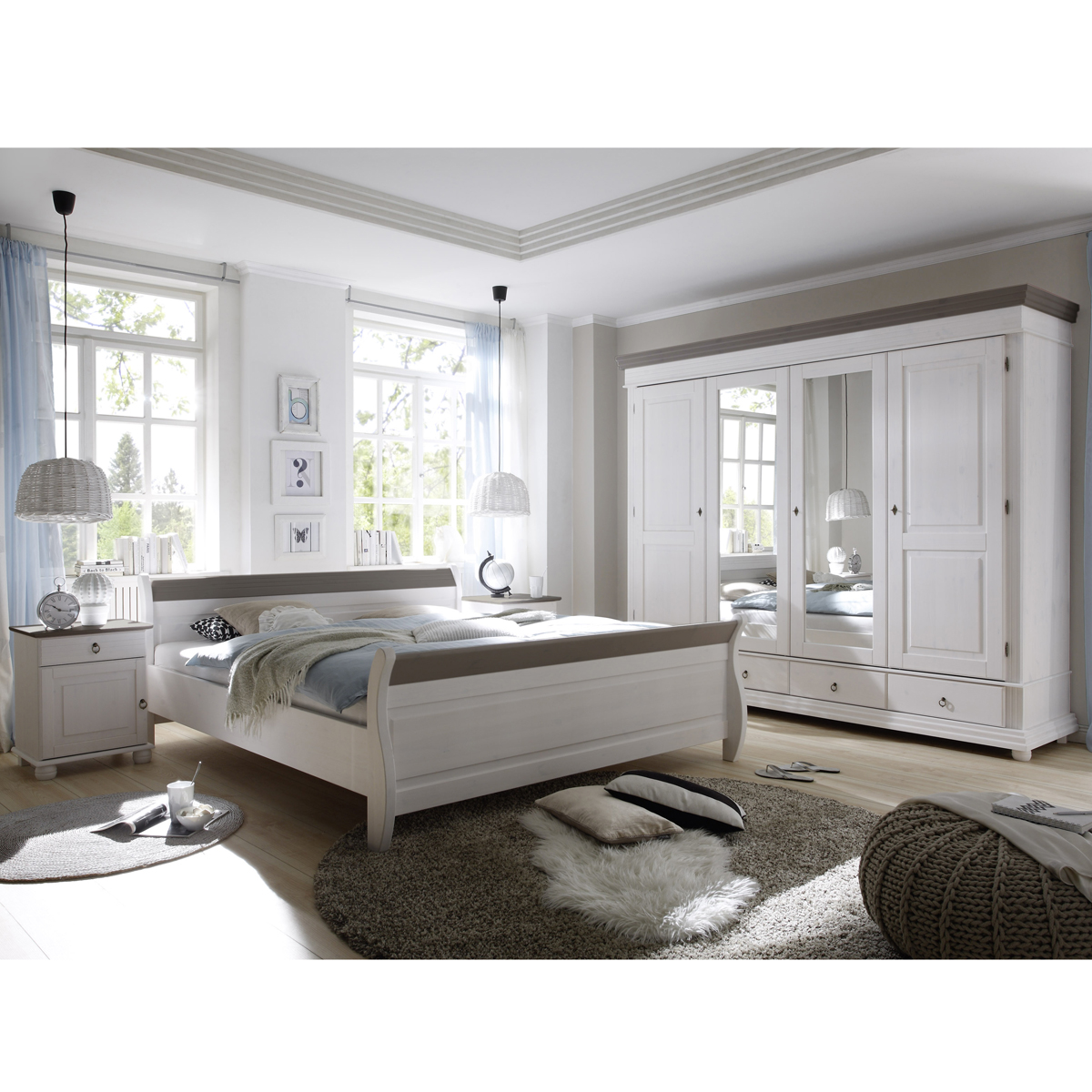 schlafzimmer set oslo kiefer massiv wei und lava nachttische doppelbett schrank ebay. Black Bedroom Furniture Sets. Home Design Ideas
