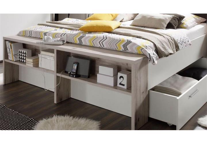 schlafzimmer set jules in sandeiche und wei bett 180x200 cm schwebet renschrank ebay. Black Bedroom Furniture Sets. Home Design Ideas