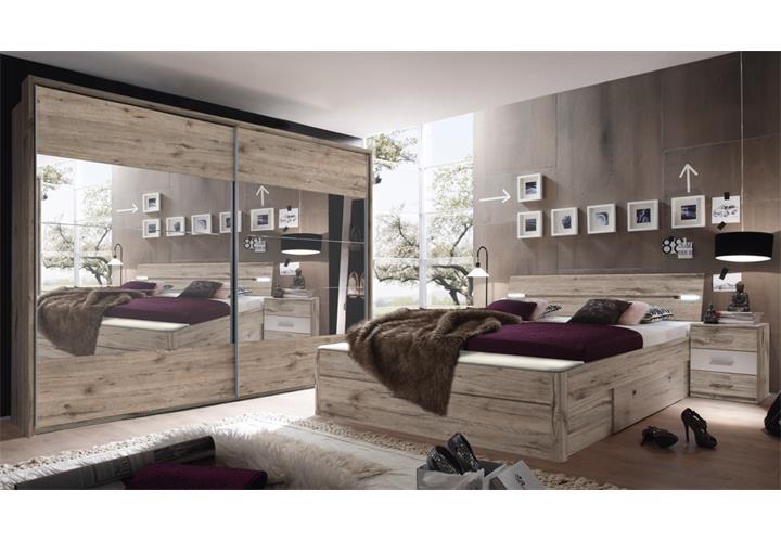 schlafzimmer set penta 5 mars xl in sandeiche wei bett led nakos schrank eur 769 95 picclick de. Black Bedroom Furniture Sets. Home Design Ideas