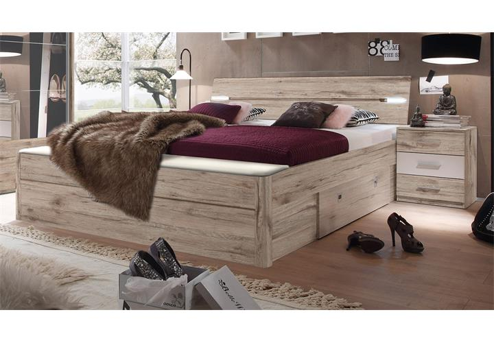schlafzimmer set penta 5 mars xl in sandeiche wei bett led nakos schrank ebay. Black Bedroom Furniture Sets. Home Design Ideas