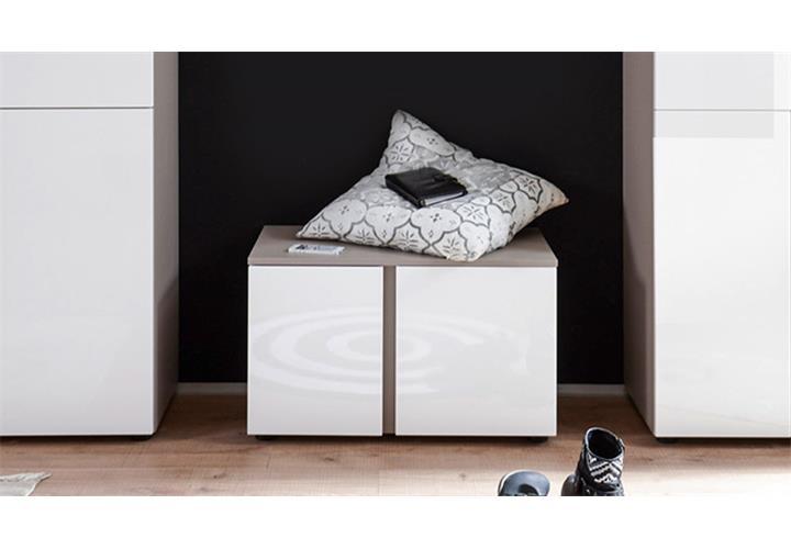 garderobenbank questa garderobe bank schuhschrank wei cappuccino braun 2 t rig ebay. Black Bedroom Furniture Sets. Home Design Ideas