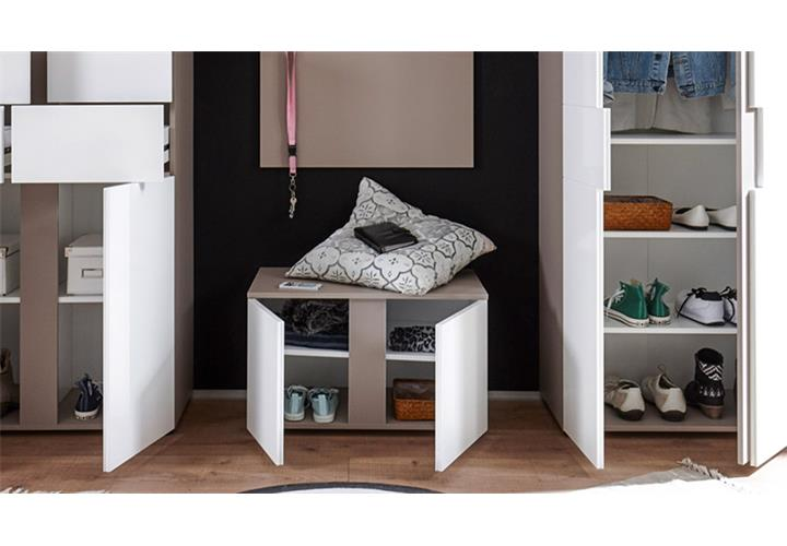 garderobenbank questa garderobe bank schuhschrank wei cappuccino braun 2 t rig ebay. Black Bedroom Furniture Sets. Home Design Ideas