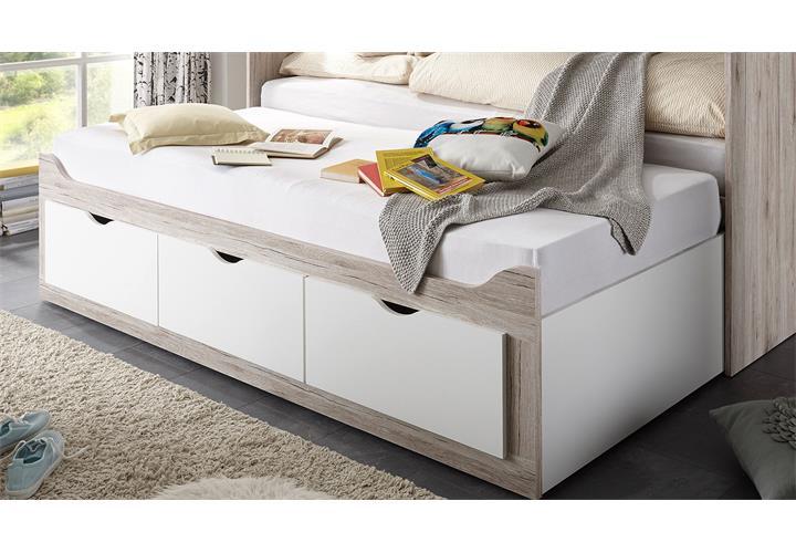 kojenbett oscar tandemliege liege bett mit rollrost in sandeiche wei 90x200 ebay. Black Bedroom Furniture Sets. Home Design Ideas