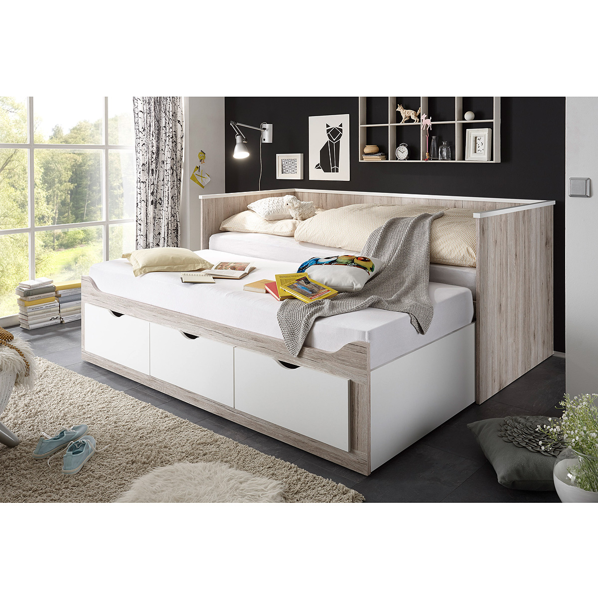 kojenbett oscar tandemliege liege bett mit rollrost in sandeiche wei 90x200 eur 359 05. Black Bedroom Furniture Sets. Home Design Ideas