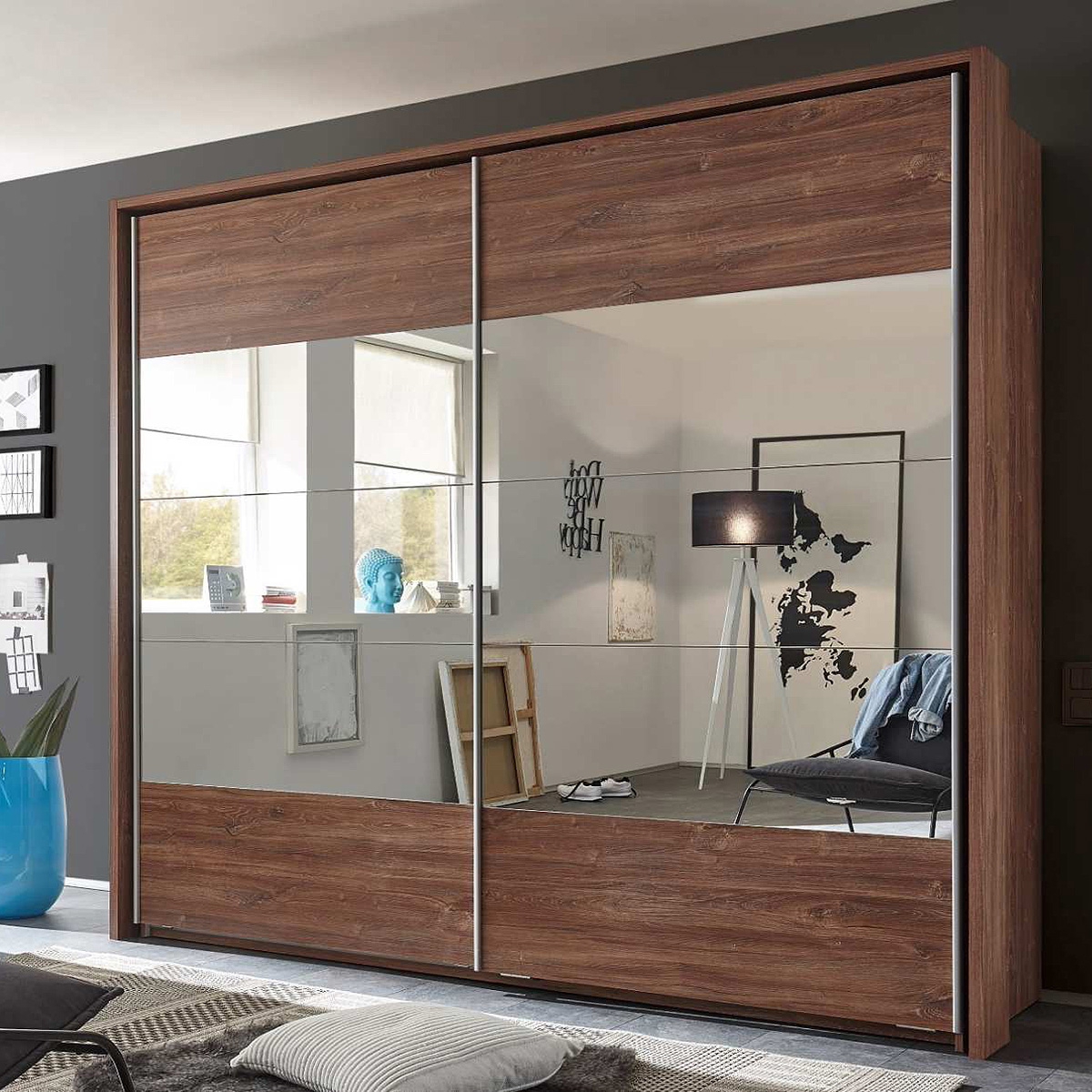 schwebet renschrank penta 4 kleiderschrank schrank in akazie mit spiegel 215 cm ebay. Black Bedroom Furniture Sets. Home Design Ideas