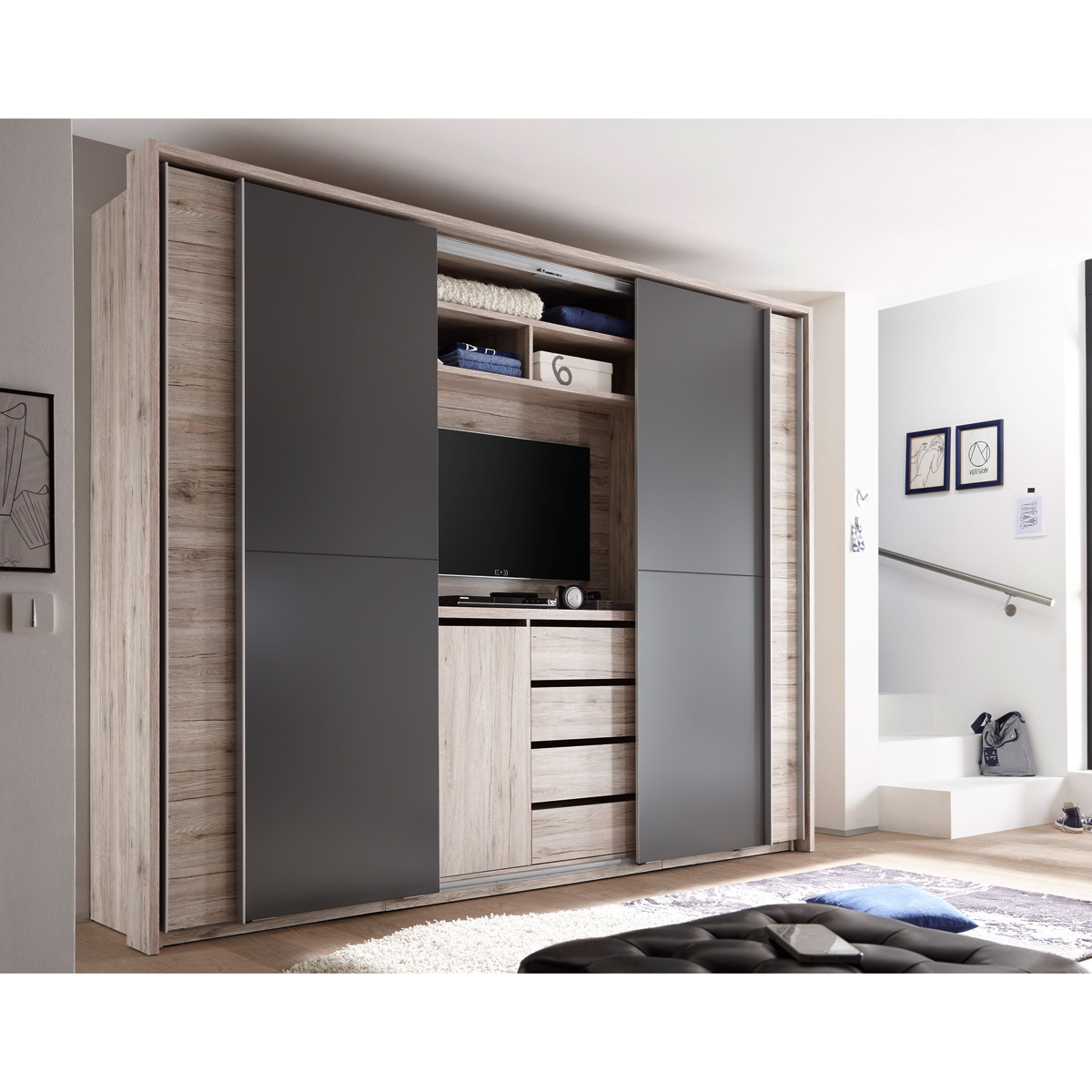 schwebet renschrank cinema schrank kleiderschrank in sandeiche lava mit tv fach ebay. Black Bedroom Furniture Sets. Home Design Ideas