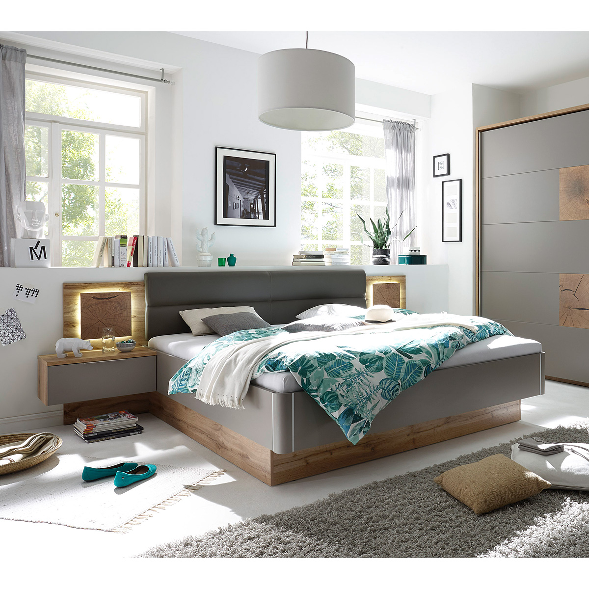 bettanlage capri bett nako in wildeiche basalgrau hirnholz taupe mit led 180x200 ebay. Black Bedroom Furniture Sets. Home Design Ideas