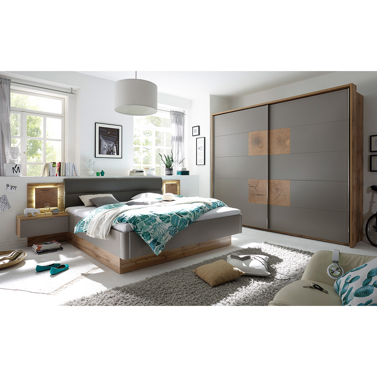 schlafzimmer capri bett schrank nako in wildeiche basalgrau hirnholz taupe led ebay. Black Bedroom Furniture Sets. Home Design Ideas