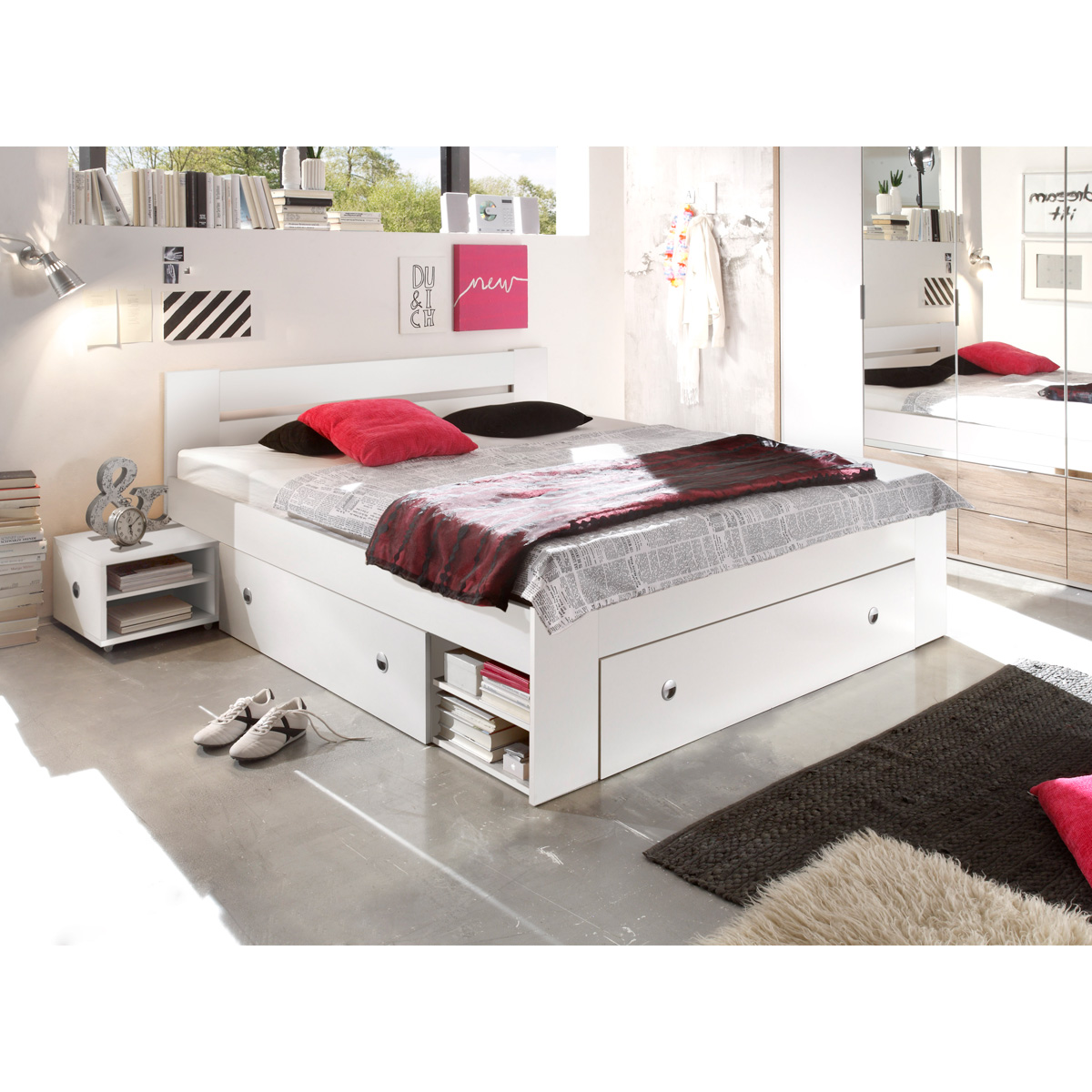 bett stefan funktionsbett doppelbett bettanlage mit nachttischen wei 180x200. Black Bedroom Furniture Sets. Home Design Ideas