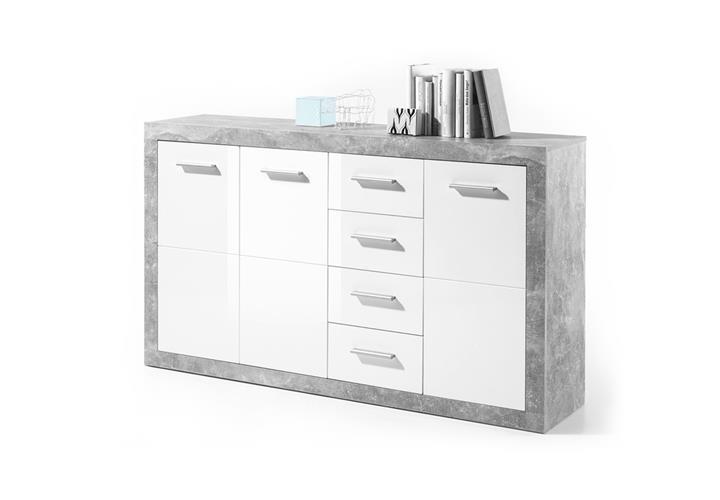 kommode stone sideboard anrichte schrank beton wei glanz. Black Bedroom Furniture Sets. Home Design Ideas