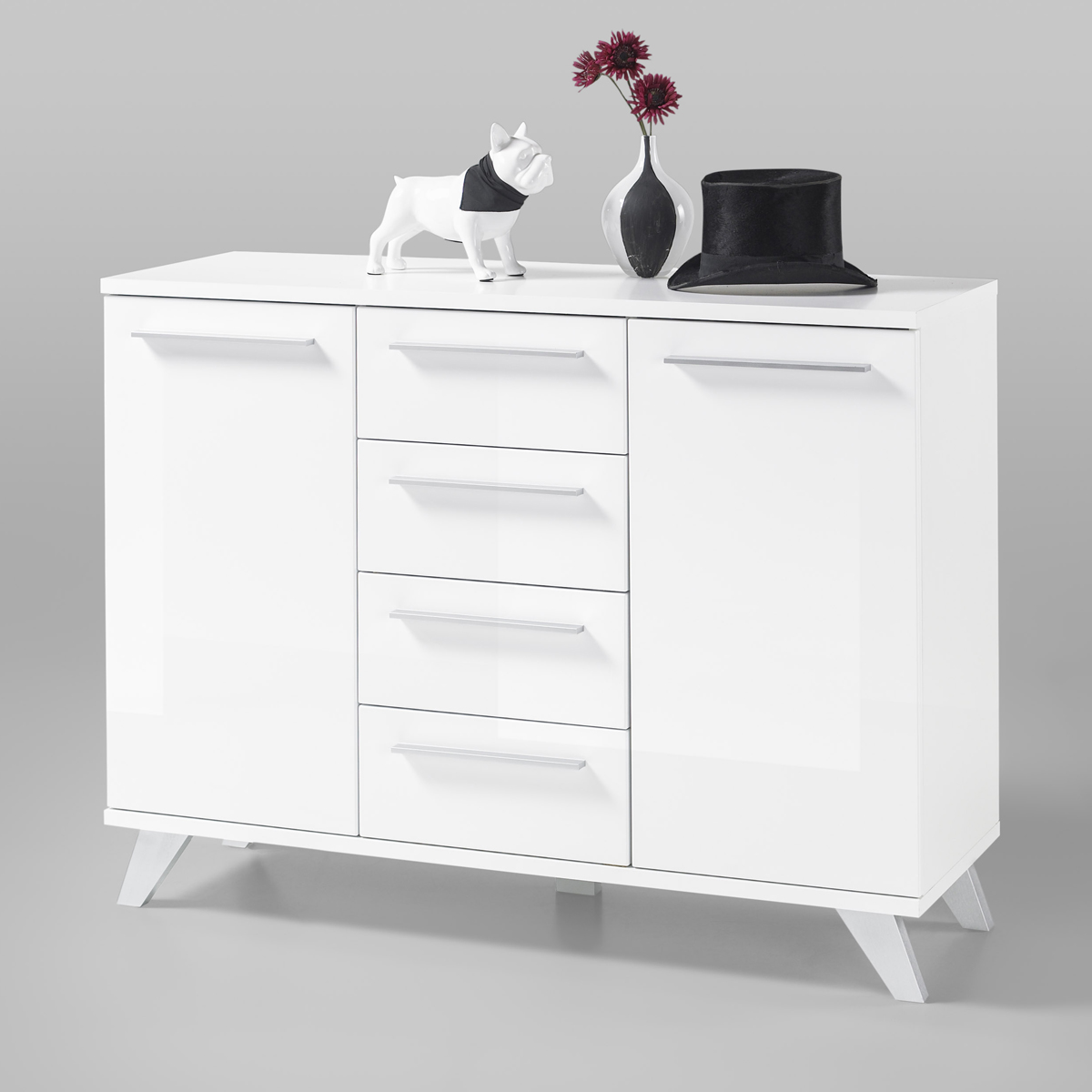 kommode north in wei hochglanz 120cm breit sideboard anrichte stauraumelement ebay. Black Bedroom Furniture Sets. Home Design Ideas