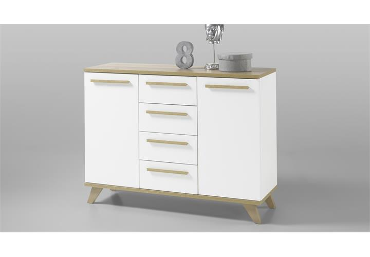 kommode south riviera eiche hell wei 120cm anrichte stauraumelement sideboard. Black Bedroom Furniture Sets. Home Design Ideas
