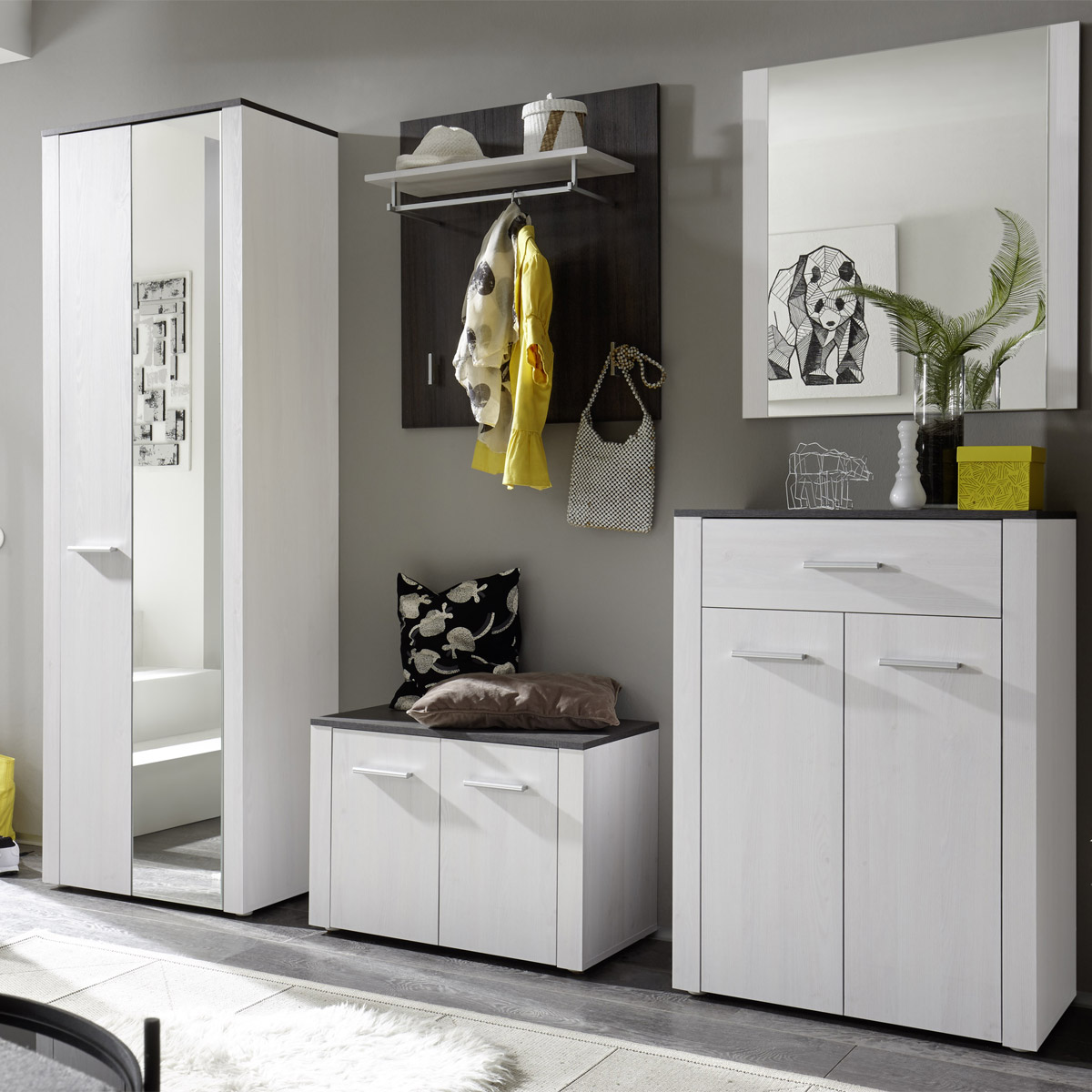 garderobe dakar set 5 teilig in sibiu l rche touchwood dielenschrank flurm bel ebay. Black Bedroom Furniture Sets. Home Design Ideas