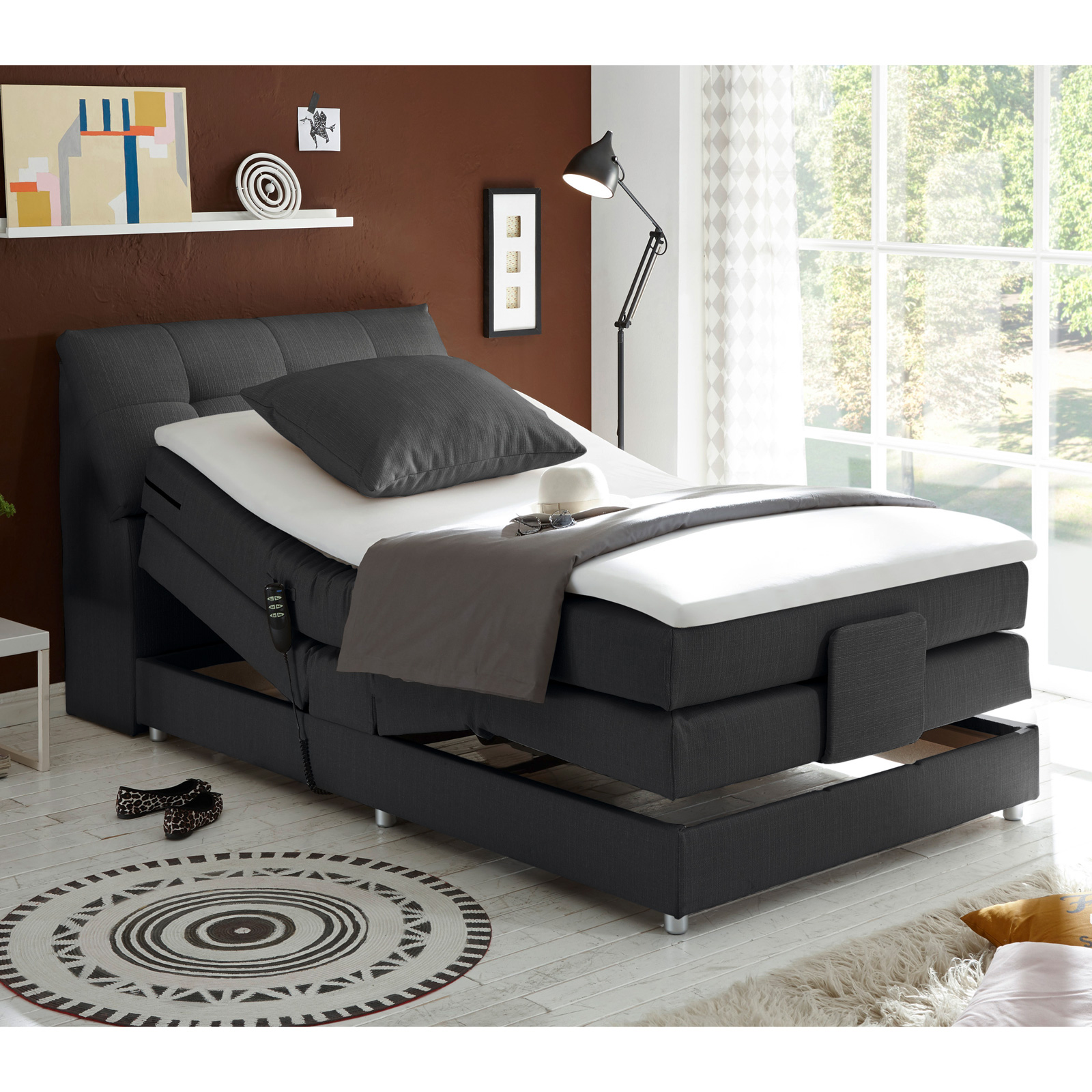 boxspringbett concort bett stoff inkl motor und topper farbauswahl 120x200 cm ebay. Black Bedroom Furniture Sets. Home Design Ideas