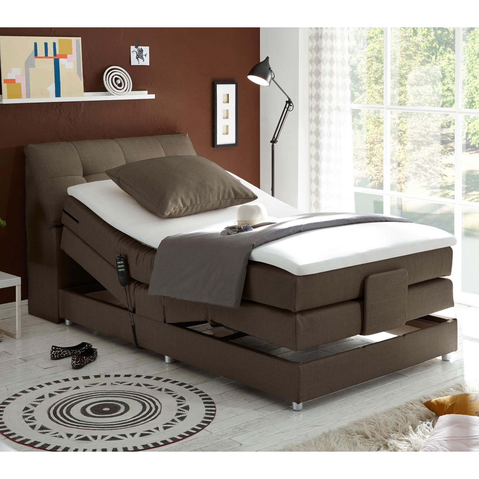 boxspringbett concort bett stoff inkl motor und topper farbauswahl 120x200 cm ebay. Black Bedroom Furniture Sets. Home Design Ideas