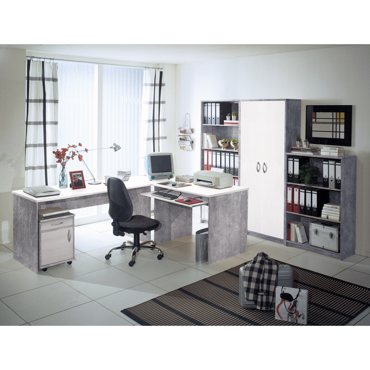 b ro office compact komplettset in walnuss sonoma eiche. Black Bedroom Furniture Sets. Home Design Ideas