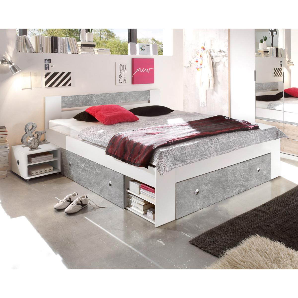 bettanlage stefan funktionsbett bett inkl 2 nachtkommoden und 3 schubk sten ebay. Black Bedroom Furniture Sets. Home Design Ideas