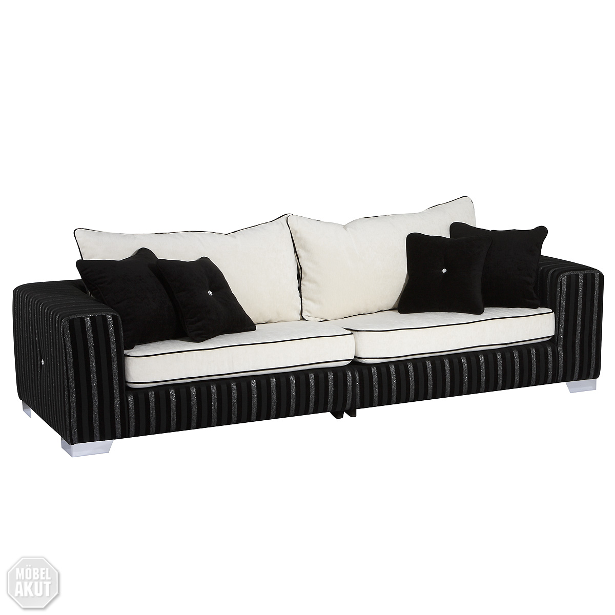 3er sofa lorenzo in schwarz weiss swarovski neu ebay. Black Bedroom Furniture Sets. Home Design Ideas