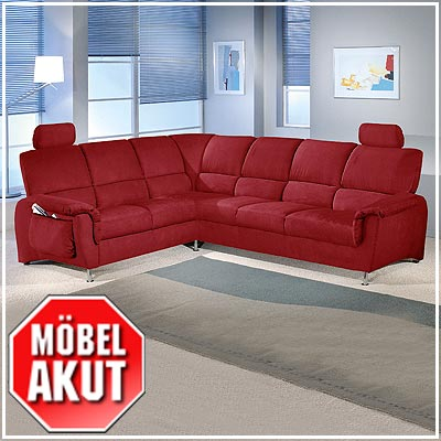 Sofa garnitur hera ecksofa in rot mit bettfunktion ebay for Ecksofa garnitur