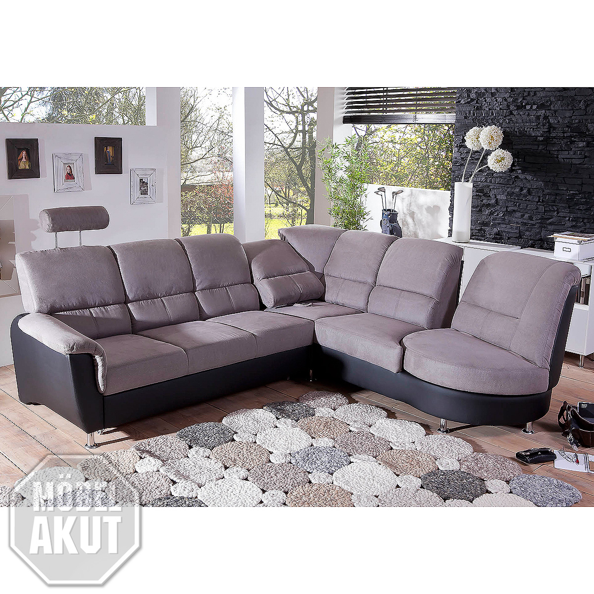 ecksofa pisa eckgarnitur sofa in grau schwarz mit. Black Bedroom Furniture Sets. Home Design Ideas