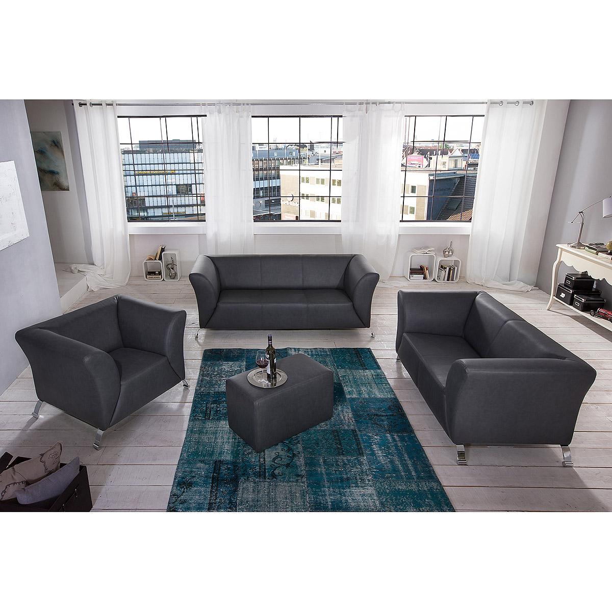 sofagarnitur torino garnitur sofa 3 2 1 polsterm bel in grau ebay. Black Bedroom Furniture Sets. Home Design Ideas