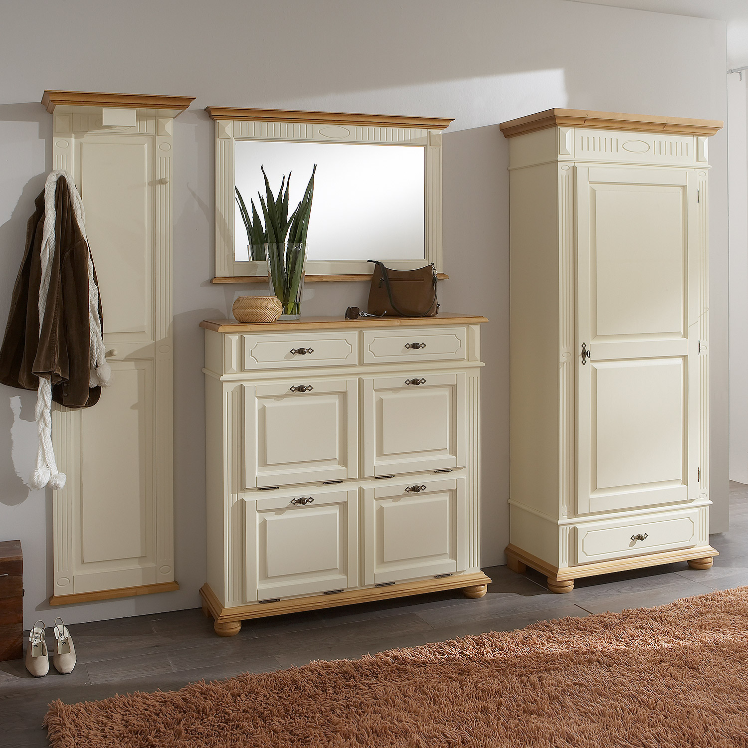garderoben set 3 teilig siena 100cm breit weiss nussbaum mit n ssebest ndigen und kratzfesten. Black Bedroom Furniture Sets. Home Design Ideas