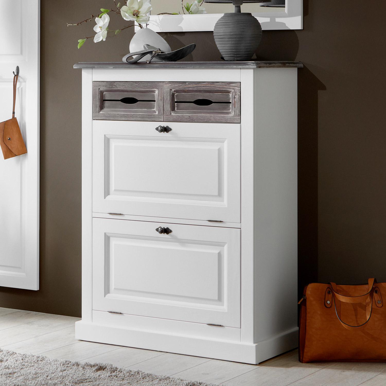 schuhschrank cabana schrank kommode fichte teilmassiv mattwei lackiert ebay. Black Bedroom Furniture Sets. Home Design Ideas