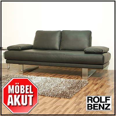 original rolf benz freischwinger sofa sob 6600 in leder schwarz 206 cm ebay. Black Bedroom Furniture Sets. Home Design Ideas