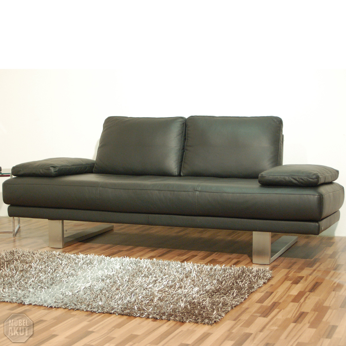 original rolf benz freischwinger sofa sob 6600 in leder schwarz 227 cm ebay. Black Bedroom Furniture Sets. Home Design Ideas