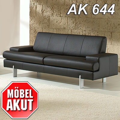 ak 644 3er sofa aus dem hause rolf benz leder schwarz ebay. Black Bedroom Furniture Sets. Home Design Ideas
