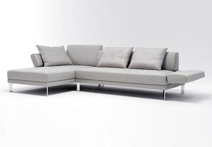 ecksofa sento 433 rolf benz sofa mit recamiere links stoff hellgrau ebay. Black Bedroom Furniture Sets. Home Design Ideas