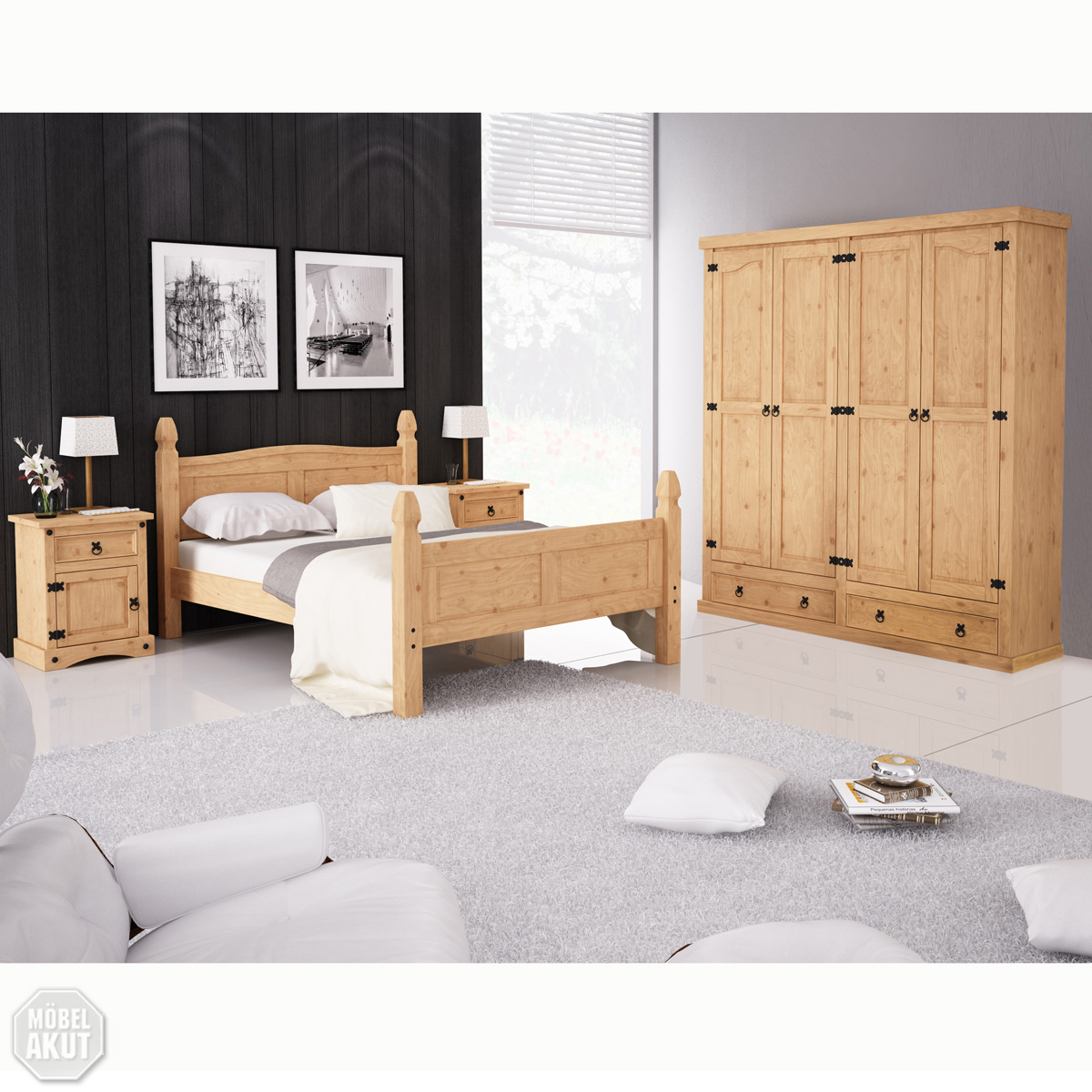 4 tlg schlafzimmerset pedro ii schlafzimmer schrank. Black Bedroom Furniture Sets. Home Design Ideas