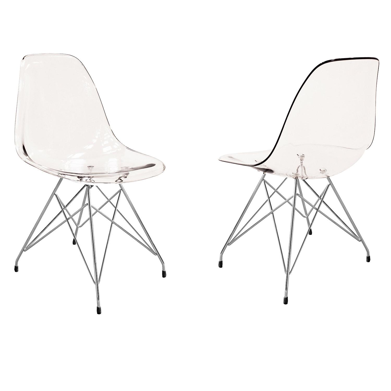Stuhl crystal 4er set esszimmerstuhl metall chrom und for Esszimmerstuhl metall