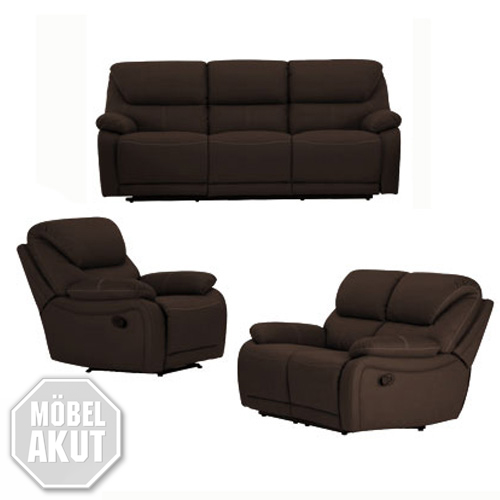 sofa garnitur berano sofa polsterm bel in braun wei mit relaxfunktion neu ebay. Black Bedroom Furniture Sets. Home Design Ideas