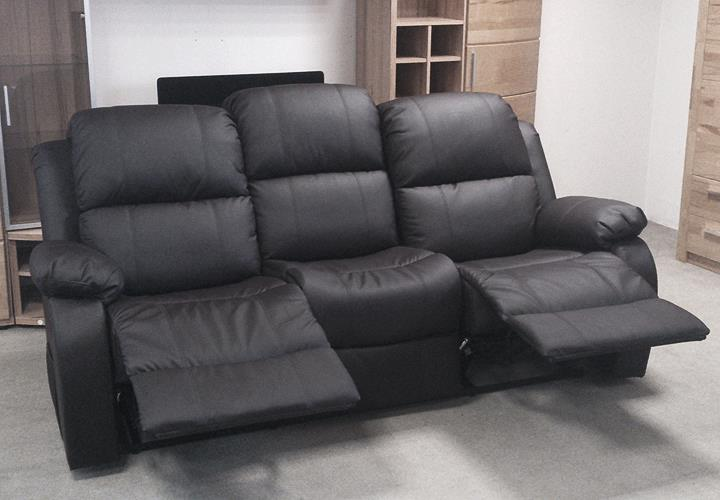 sofa lakos 3 sitzer couch polsterm bel in schwarz mit relaxfunktion ebay. Black Bedroom Furniture Sets. Home Design Ideas