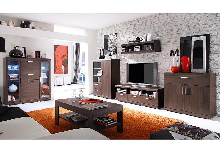 wohnwand mestre anbauwand wohnzimmer in sonoma eiche dunkel inkl beleuchtung ebay. Black Bedroom Furniture Sets. Home Design Ideas