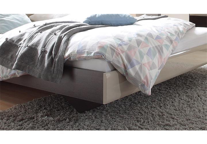 Bett hektor bettgestell sonoma eiche dunkel und sand grau for Bett grau 180x200