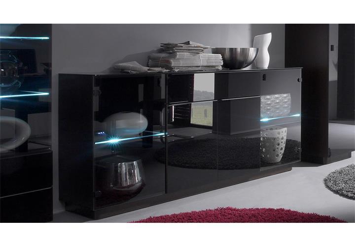 sideboard togos wm kommode konsole glas schwarz und wenge inkl led ebay. Black Bedroom Furniture Sets. Home Design Ideas