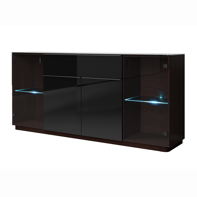 Sideboard togos wm kommode konsole glas schwarz und wenge for Kommode sideboard schwarz