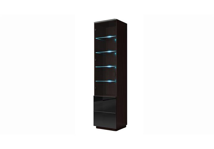 vitrine togos wm schrank wohnzimmer glas schwarz und wenge inkl led ebay. Black Bedroom Furniture Sets. Home Design Ideas