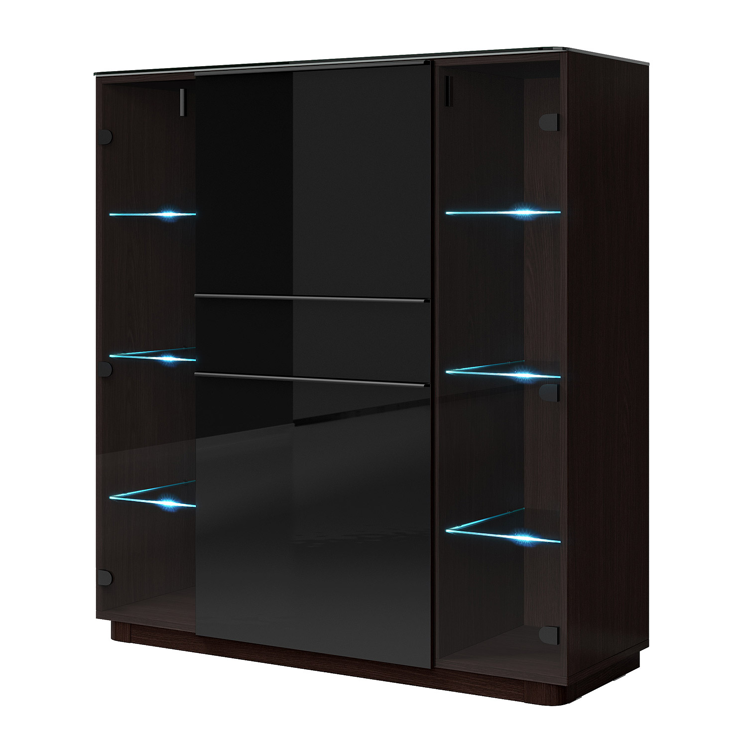 barschrank togos wm hochkommode highboard glas schwarz und wenge inkl led. Black Bedroom Furniture Sets. Home Design Ideas