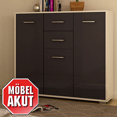 highboard soma kommode sideboard front grau hochglanz wei. Black Bedroom Furniture Sets. Home Design Ideas