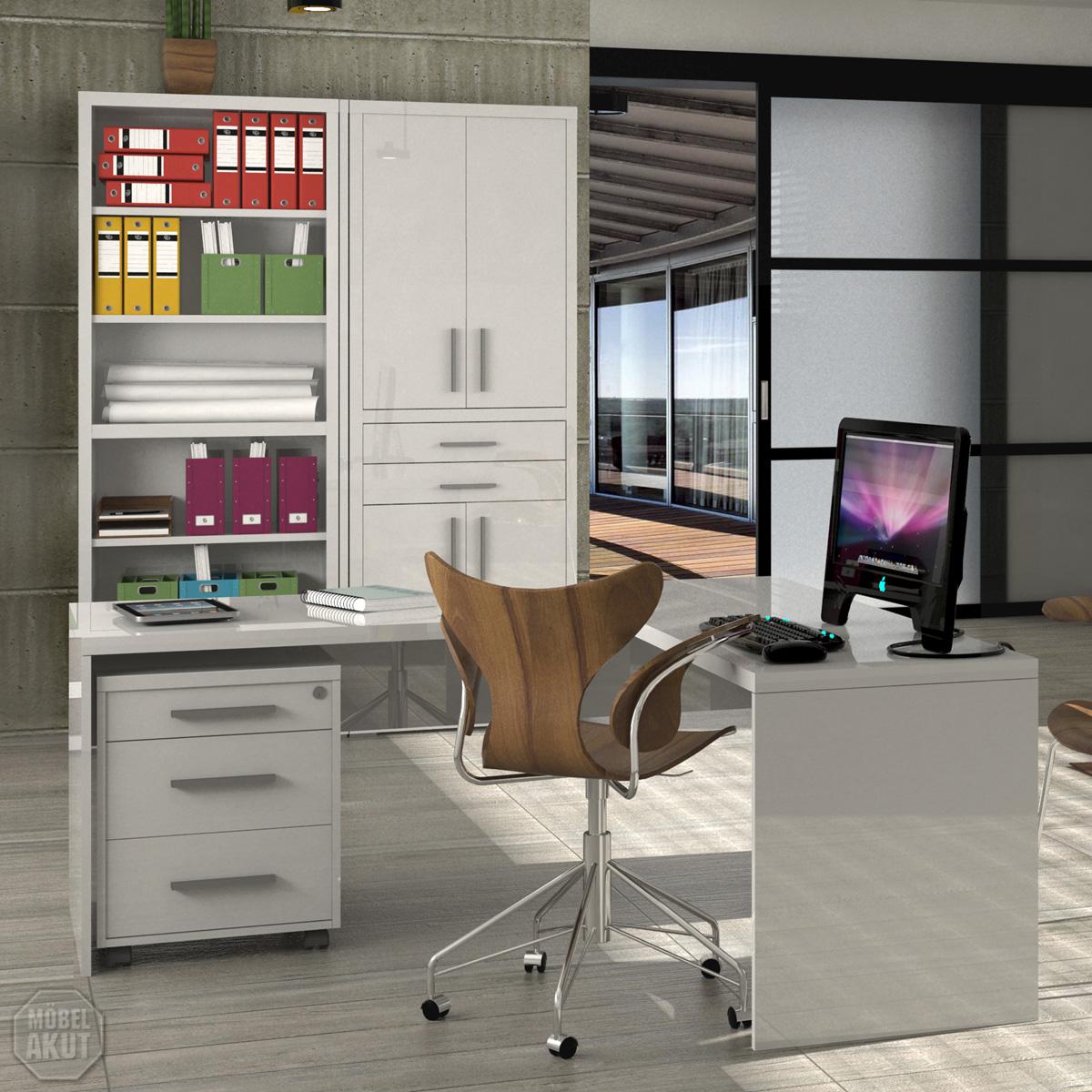 b roset pampa schreibtisch rollcontainer regal in wei hochglanz lackiert ebay. Black Bedroom Furniture Sets. Home Design Ideas