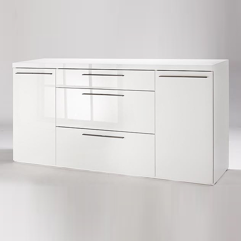 sideboard attimi kommode anrichte wei hochglanz lackiert mit metallgriffen ebay. Black Bedroom Furniture Sets. Home Design Ideas