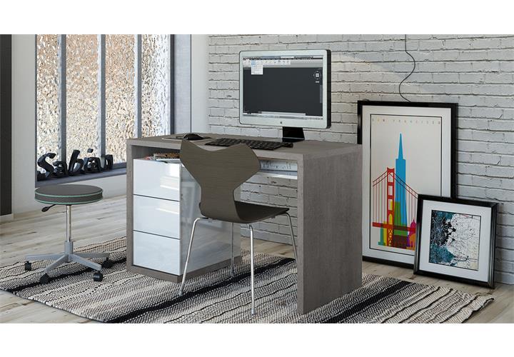 schreibtisch moneta b rotisch computertisch beton wei hochglanz lackiert ebay. Black Bedroom Furniture Sets. Home Design Ideas