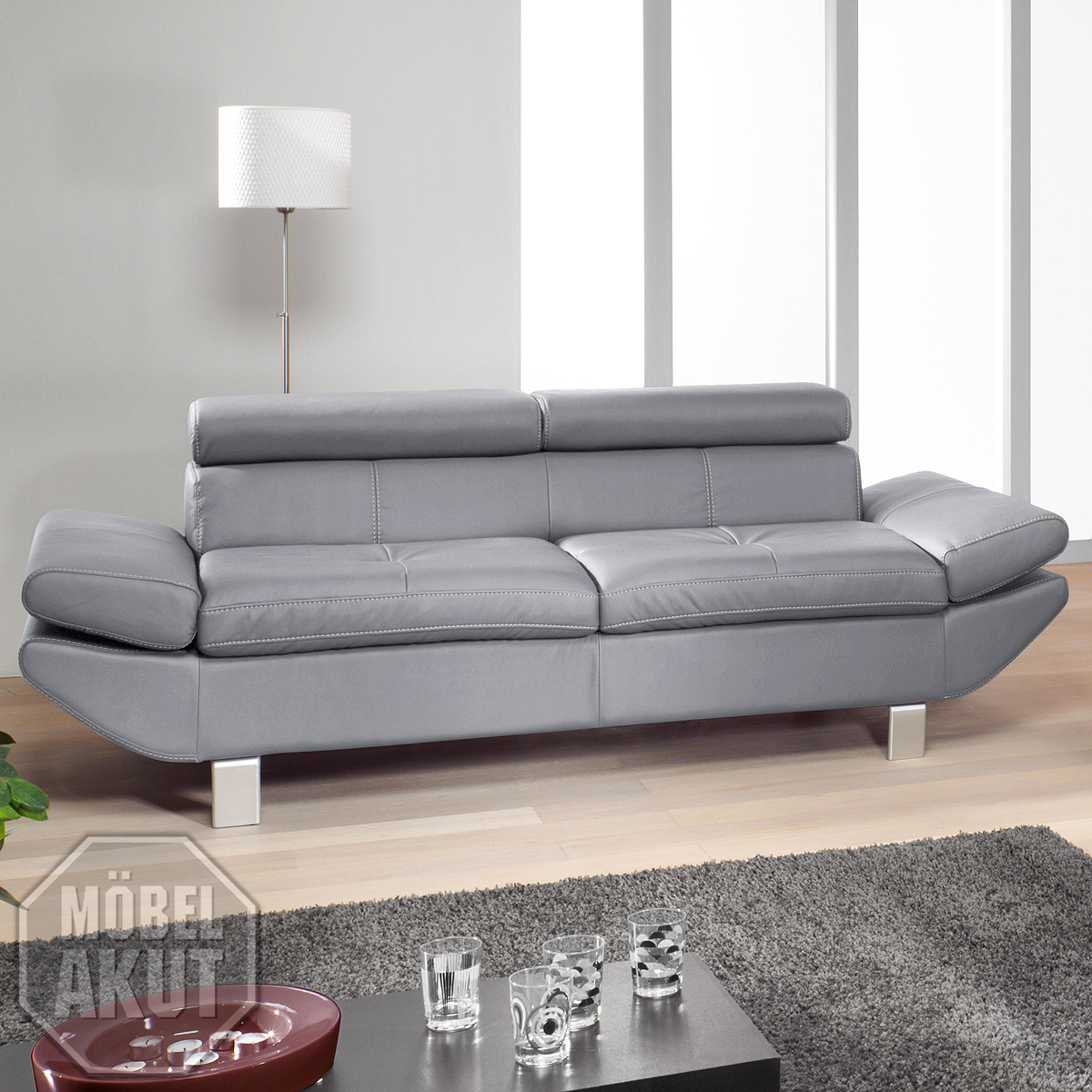 3er sofa carrier polsterm bel mit relaxfunktion in grau 223 cm ebay. Black Bedroom Furniture Sets. Home Design Ideas
