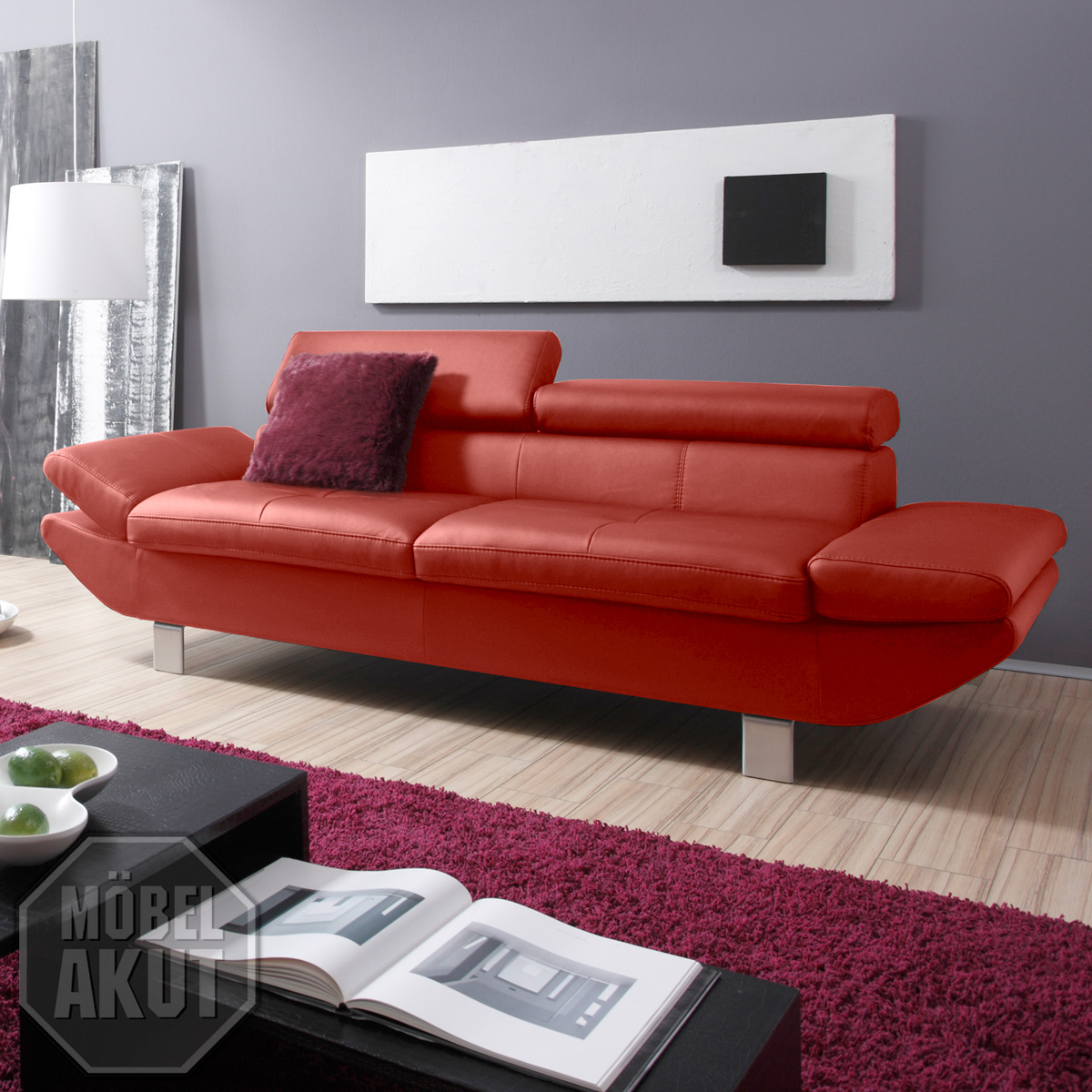 2er sofa carrier polsterm bel mit relaxfunktion in rot 208 cm ebay. Black Bedroom Furniture Sets. Home Design Ideas