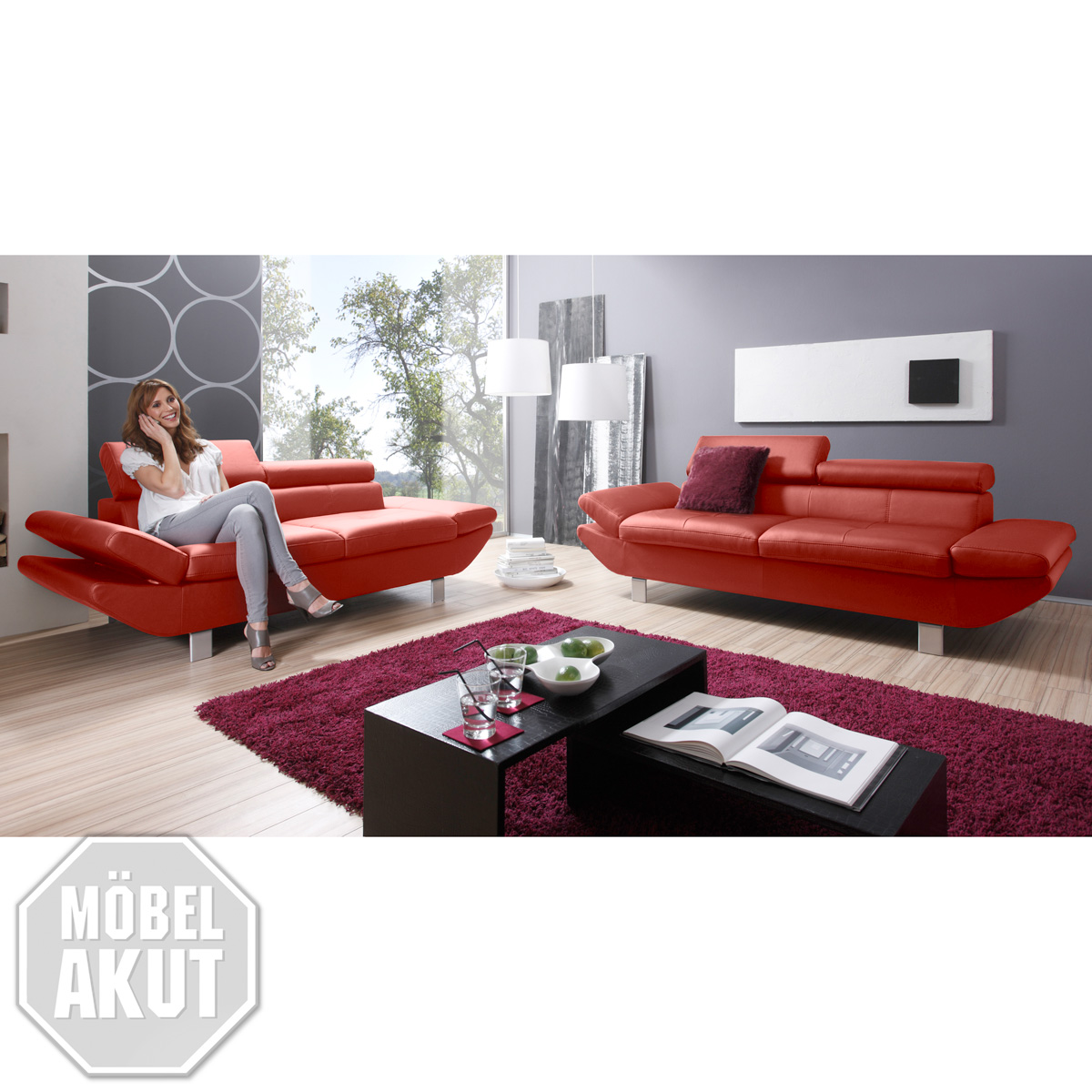sofa garnitur carrier polsterm bel mit relaxfunkion in rot ebay. Black Bedroom Furniture Sets. Home Design Ideas