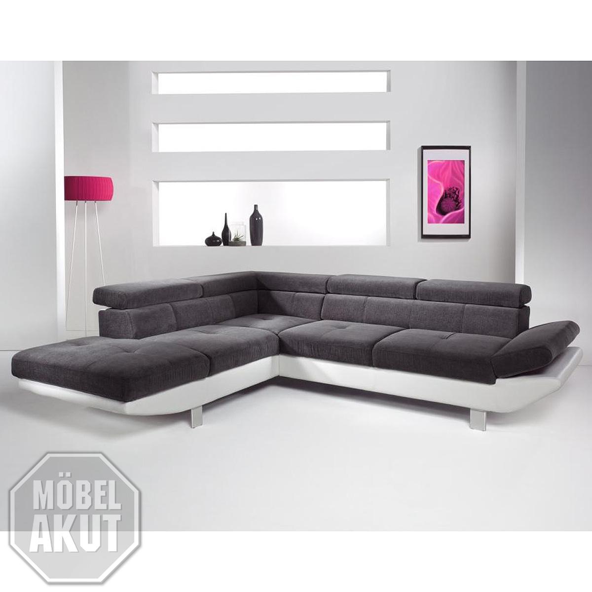 wohnlandschaft whisper ecksofa relaxfunktion wei anthrazit auswahl rechts links ebay. Black Bedroom Furniture Sets. Home Design Ideas